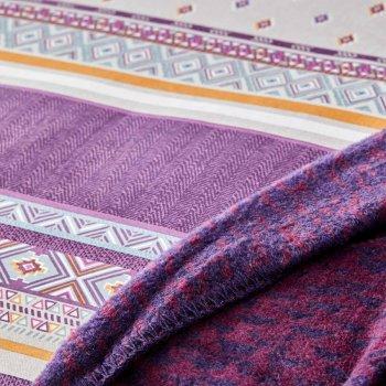Комплект постельного белья с пледом Karaca Home Faroy фиолетовый 200х220 5 предметов (svt-2000022268158)
