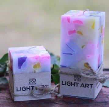 Комалект мармурових свічок ручної роботи для інтер'єру LightArt Різнобарвний (CAN253)