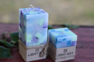 Комалект мармурових свічок ручної роботи для інтер'єру LightArt Різнобарвний (CAN252)