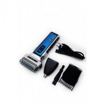 Акумуляторна машинка триммер для стрижки волосся і бороди і вусів, для носа 3в1 GoVern GM-589 (Gemei) Електробритва Синя