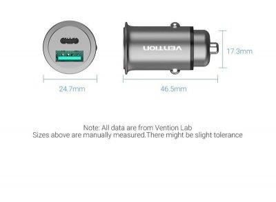 Автомобильное зарядное устройство Vention Power Delivery Port + QC3.0 24W Black (CC-63-H)