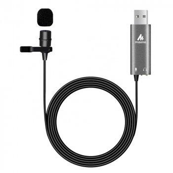 Петличный USB микрофон со звуковой картой Maono AU-UL20 Black/Grey