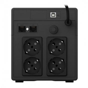 ИБП NJOY Cadu 1000 (UPCMTLS610HCAAZ01B), Lin.int., AVR, 4 x Schuko, USB, LCD, пластик