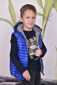 Детский двусторонний теплый жилет PLeseS электрик с серым