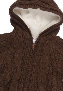 Теплая кофта на замке с подкладкой Mari-Knit 0715 коричневый