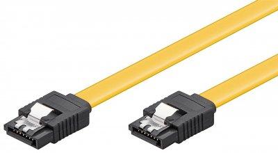 Кабель накопичувача Goobay SATA 7p M/M 0.1m прямий 6Gbps L-Type Latch жовтий(75.09.4013)