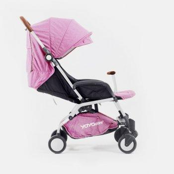 Прогулочная коляска YOYA care, рама белая, расцветка Розовая
