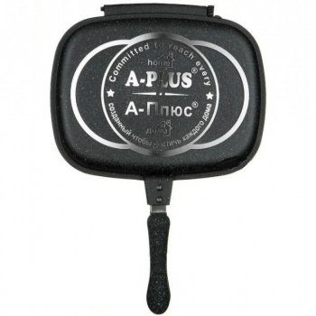 Сковорода двостороння для гриля і смаження А-PLUS 1500 Oridginal 30см c ергономічною ручкою Black
