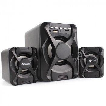 Колонки для ПК и ноутбука Kisonli U2500BT компактные маленькие громкие и мощные колонки Bluetooth для компьютера ноутбука телефона смартфона TF карта / Udis / BT / AUX / FM – акустическая система + качественный звук с пультом управления - Черный