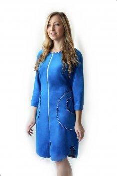 Женский велюровый халат Amelino Elite на молнии. Голубой.