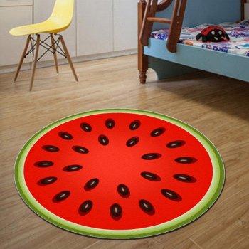 Безворсовий круглий 3D килимок Кавун 120см для ванної, кухні та дитячої кімнати (1002689-Red-1)