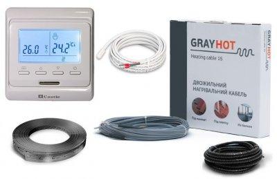 Тепла підлога нагрівальний двожильний кабель Gray Hot Heating 115м. 1725Вт в комплекті з програмованим терморегулятором та датчиком температури підлоги (VIT00759)