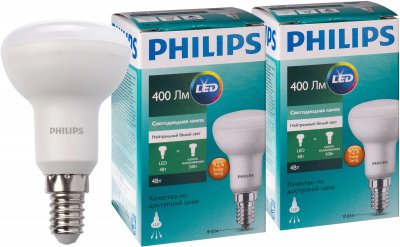 Светодиодная лампа Philips LED Spot 4W E14 4000K R50 2 шт (929001857487R)