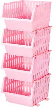 Набір кошиків Violet House Бамбу 4 кошики по 22х30х36 см Pink (0404 №2 Ажур CAR з/кр. 14 л)