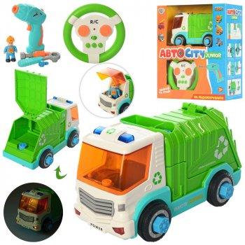 Детский Конструктор Limo Toy KB 031 на шурупах мусоровоз 19 см на радиоуправлении, фигурка, инструменты, звуковые