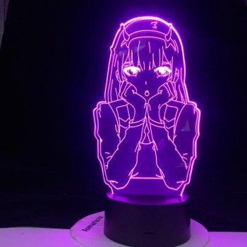 Настільний світильник-нічник 02 Нуль Два Милий під Франксе - Darling in the Franxx 16 кольорів 3D USB (12264)
