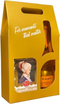 """Вино игристое Canti Prosecco Millesimato белое экстра-сухое 0.75 л 11% + Конфеты шоколадные """"Моцарт и Констанция - Шарики"""" 120 г, Reber (1221000018195)"""