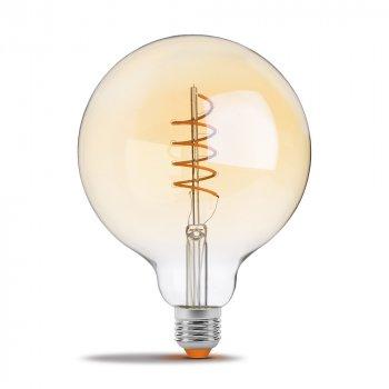 Филаментная лампа VIDEX Neoclassic G125FASD 5W E27 2200K 220V з діммером золота (VL-G125FASD-05272)