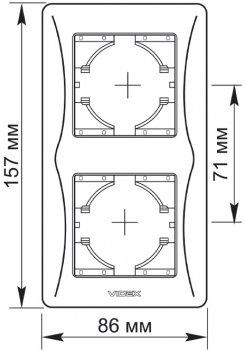 Рамка VIDEX Binera на 2 поста вертикальная Черный графит (VF-BNFR2V-BG)