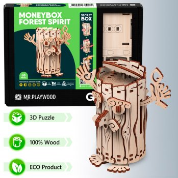 Конструктор объемный из дерева Mr.Playwood Копилка Лесовичок 63 детали (4820204380274)