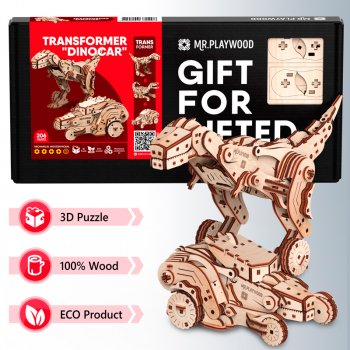 Конструктор объемный из дерева Mr.Playwood Трансформер Динокар 206 деталей (4820204380298)