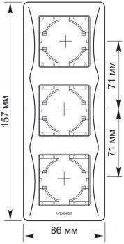 Рамка VIDEX Binera на 3 поста вертикальная Черный графит (VF-BNFR3V-BG)