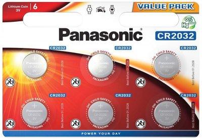 Батарейка литиевая Panasonic Litium Power CR-2032EL/6BP, CR2032, 3V блистер 6шт
