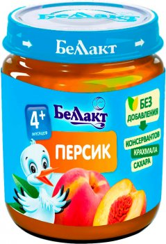 Упаковка фруктового пюре Беллакт з персиків 12 банок по 100 г (4814716000188_12)