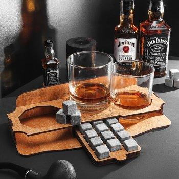 Камни для виски Whiskey stones USA Original Wood and Glass 12шт из стеатита + мешочек + 2 стакана Сертифицированные