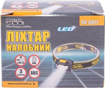Ліхтар налобний Mastertool 3 режими, 59 х 41 х 32 мм, COB LED, 3 x AAA, ABS (94-0811)