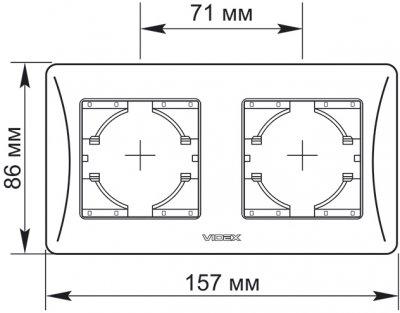 Рамка на 2 пости VIDEX Binera горизонтальна Срібляста (VF-BNFR2H-SS)