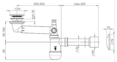 Сифон для раковины PREVEX Preloc клик-клак со сливной трубой 32/50 мм (PR3-C4N35-001)