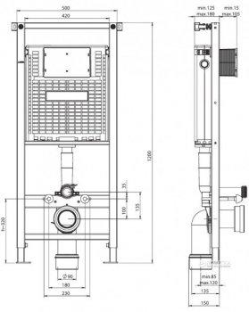 Инсталляция для подвесного унитаза Koller Pool WC Alcora ST1200