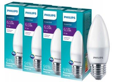 Светодиодная лампа Philips ESSLEDCandle 6.5 E27 840 B35NDFR RCA (929001887207R) 4 шт