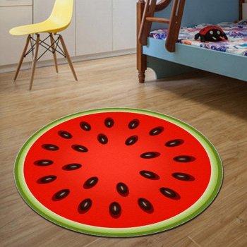 Безворсовий круглий 3D килимок Кавун 120см для ванної, кухні та дитячої кімнати