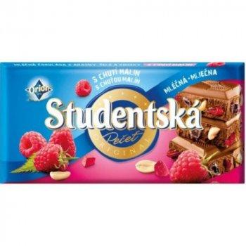 Молочный шоколад с арахисом, малиной Studentska pacet 180г (00-00000061)
