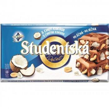 Молочный шоколад с арахисом, кокосом Studentska pacet 180г (00-00000064)