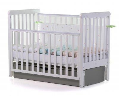 Кроватка детская 2 в 1 Carello Alba деревянная с коробом маятникового механизма + ящик для хранения Белый/Темно-серый