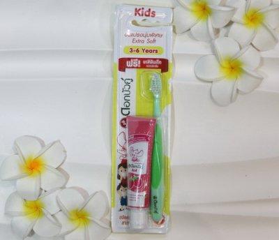 Зубная паста Dok Bua Ku детская со вкусом клубники, 20 гр, щетка в подарок