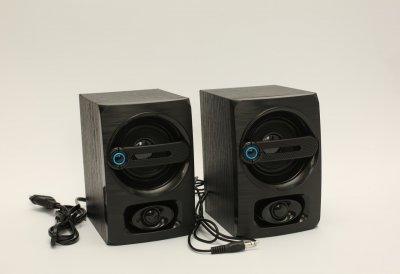 Колонки проводные компьютерные акустика деревянные от сети 220 Вольт FT-108 Черные