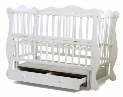 Кроватка для новорожденных с маятниковым механизмом Юлия Кузя с ящиком Белая 102.3
