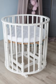 Ліжко дитяче трансформер кругле-овальне 8 в 1 Кузя з маятниковим ходом, колесами, матрасом біле 111.2