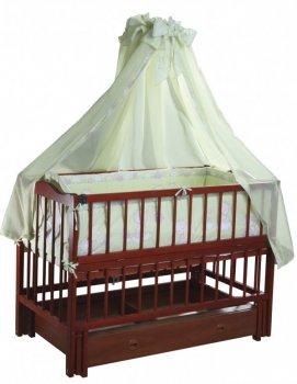 Дитяче ліжечко Ангеліна Кузя, з шухлядою та відкидною боковинкою горіх 103.2