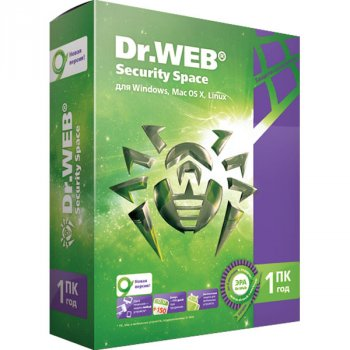 Антивірус Dr. Web Security Space (1 ПК) ліцензія на 1 рік, базова (DW-SS-1Y)