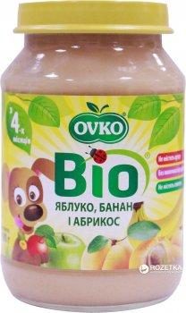 Упаковка фруктового органічного пюре OVKO Яблуко з бананом і абрикосом 190 г x 6 шт. (8586015172755)