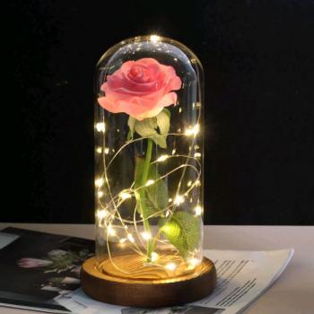 Стабілізована Троянда Home Fest в колбі нічник вічна троянда LED підсвічування 20 см рожевий