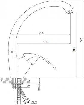Змішувач кухонний GF (CRM)/S-12-008F