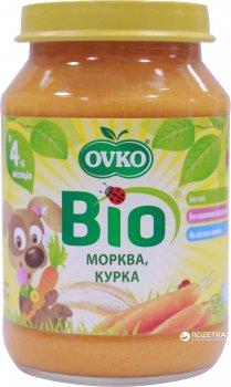 Упаковка овочево-м'ясного органічного пюре OVKO Морква та куряче м'ясо з 4 місяців 190 г x 6 шт. (8586015172694)