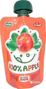 Упаковка фруктового органічного пюре OVKO Яблучне 100% з 6 місяців 90 г x 12 шт. (8586019160321)