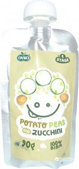 Упаковка овочевого органічного пюре OVKO Картопля, горох, цукіні з 6 місяців 90 г x 8 шт. (8586019160420)